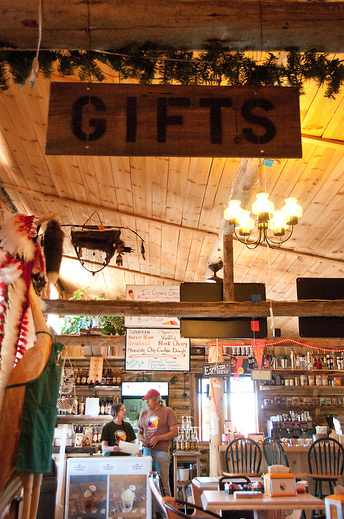 Dancing Crane Coffee House owners Jim  and Cathy LeBlanc in Brimley Michigan.