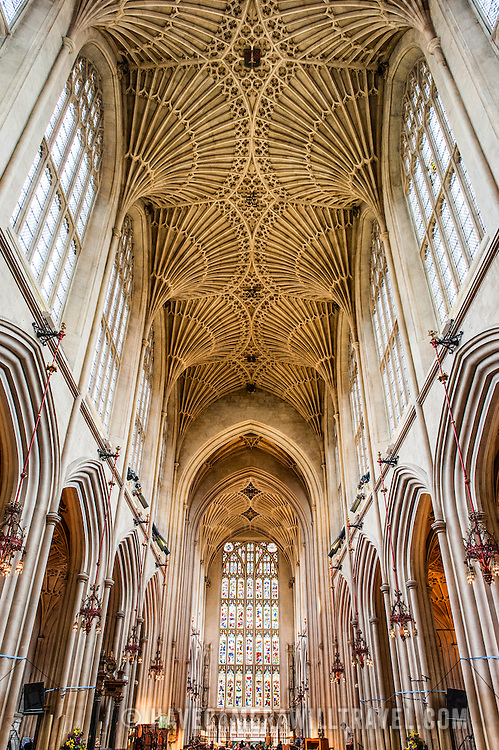 The ornate vaulted ceiling of the nave of Bath Abbey looking towards the altar. Bath Abbey (formally the Abbey Church of Saint Peter and Saint Paul) is an Anglican cathedral in Bath, Somerset, England. It was founded in the 7th century and rebuilt in the 12th and 16th centuries.