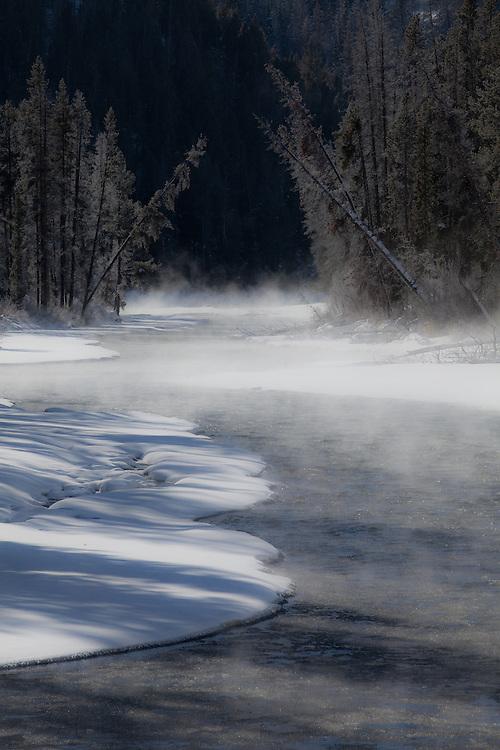 Rising Steam along the Salmon River just below Lower Stanley in Central Idaho in Winter.  Licensing and Open Edition Prints.