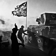 Humvees carrying injured soldiers of the Iraqi Army's Golden Division special forces unit arrive at the Gogjali field clinic from fighting on the front lines in Mosul, Iraq on November 24, 2016. Nearly two years since the Islamic State took the city of Mosul in northern Iraq, the Iraqi Army launched an offensive to wrest the city back from the insurgency in October of 2016.