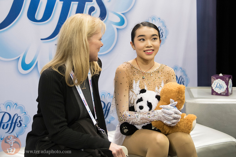 January 3, 2018; San Jose, CA, USA; Karen Chen (right) sits with coach Tammy Gambill (left) in the kiss and cry after skating in the ladies short program during the 2018 U.S. Figure Skating Championships at SAP Center.