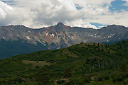 View of the Mt. Sneffels Wilderness and Uncompaghre National Forest from the San Juan Skyway and Dallas Divide, near Ouray, Colorado, USA