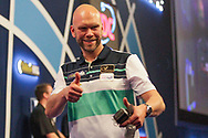 WINNER Sweden's Daniel Larsson beats Scotland's Robert Thornton and celebrates during Day 6 of the Darts World Championship 2018 at Alexandra Palace, London, United Kingdom on 18 December 2018.
