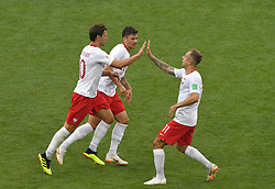 MOSCOW, June 19, 2018  Grzegorz Krychowiak (L) of Poland celebrates his scoring with teammates during a Group H match between Poland and Senegal at the 2018 FIFA World Cup in Moscow, Russia, June 19, 2018. Senegal won 2-1. (Credit Image: © Wang Yuguo/Xinhua via ZUMA Wire)