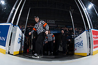 KELOWNA, CANADA - FEBRUARY 7:  Referee Marc Pearce steps on the ice at the Kelowna Rockets against the Vancouver Giants on February 7, 2018 at Prospera Place in Kelowna, British Columbia, Canada.  (Photo by Marissa Baecker/Shoot the Breeze)  *** Local Caption ***