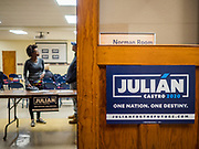 07 MAY 2019 - AMES, IOWA: People wait for a Julián  Castro campaign event to start at Collegiate United Methodist Church in Ames Tuesday. Castro is visiting Iowa to support his candidacy for the Democratic ticket of the US Presidency. Iowa traditionally hosts the the first selection event of the presidential election cycle. The Iowa Caucuses will be on Feb. 3, 2020.                           PHOTO BY JACK KURTZ