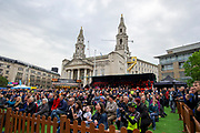 A general view of the crowd in the fans village on the eve of the 2019 Tour De Yorkshire during the Eve of Tour celebrations in Millennium square, Leeds, United Kingdom on 1 May 2019.