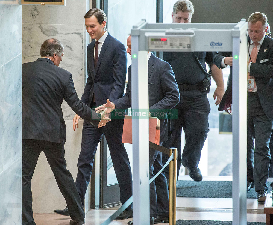 July 24, 2017 - Washington District of Columbia, U.S. - JARED KUSHNER, President Trump's senior advisor and son-in-law, will testify before senate investigators in their Russia probe. In the Senate Hart office building on Capitol Hill. Kushner told investigators he ''did not collude'' with Russia over the 2016 US presidential election. Kushner is likely to face tough questions about this meeting with Russian officials during he did not disclose on security clearance applications. (Credit Image: © Ken Cedeno via ZUMA Wire)
