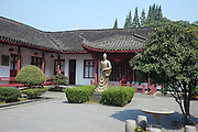 Statue of Lu Yu teamaster of China at Mei Jia Wu tea plantation, Hangzhou