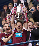 The William Hill Scottish FA Cup Final 2012 Hibernian Football Club v Heart Of Midlothian Football Club..19-05-12...Hearts Ian Black with the Scottish Cup        during the William Hill Scottish FA Cup Final 2012 between (SPL) Scottish Premier League clubs Hibernian FC and Heart Of Midlothian FC. It's the first all Edinburgh Final since 1986 which Hearts won 3-1. Hearts bid to win the trophy since their last victory in 2006, and Hibs aim to win the Scottish Cup for the first time since 1902....At The Scottish National Stadium, Hampden Park, Glasgow...Picture Mark Davison/ ProLens PhotoAgency/ PLPA.Saturday 19th May 2012.