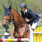 Leslie Howard riding Balboa 6 in action during the $100,000 Empire State Grand Prix presented by the Kincade Group during the Old Salem Farm Spring Horse Show, North Salem, New York,  USA. 17th May 2015. Photo Tim Clayton