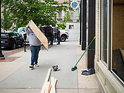31 MAY 2020 - DES MOINES, IOWA: A group of rioters, protesting the death of George Floyd in Minneapolis, smashed windows in businesses and restaurants around the Polk County Courthouse in Des Moines. Des Moines police said they made 25 arrests Saturday night and very early Sunday morning. No one was hurt in the disturbances.      PHOTO BY JACK KURTZ