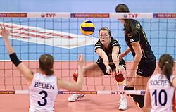 04-01-2016 TUR: European Olympic Qualification Tournament Nederland - Duitsland, Ankara <br /> De Nederlandse volleybalvrouwen hebben de eerste wedstrijd van het olympisch kwalificatietoernooi in Ankara niet kunnen winnen. Duitsland was met 3-2 te sterk (28-26, 22-25, 22-25, 25-20, 11-15) / Heike Beier #12 of Germany