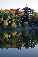 Kofukuji Temple's pagoda, seen from Sarusawa Pond, Kofukuji is one of the great temples of the Nara period and features a tall five storey pagoda. Today only a handful of the temple's 175 buildings remain standing, most of which date from the 15th century.  Kofukuji was named a UNESCO World Heritage Site in 1998.