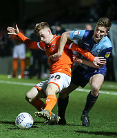 Blackpool's Connor Ronan vies for possession with Wycombe Wanderers' David Wheeler<br /> <br /> Photographer Lee Parker/CameraSport<br /> <br /> The EFL Sky Bet League One - Wycombe Wanderers v Blackpool - Tuesday 28th January 2020 - Adams Park - Wycombe<br /> <br /> World Copyright © 2020 CameraSport. All rights reserved. 43 Linden Ave. Countesthorpe. Leicester. England. LE8 5PG - Tel: +44 (0) 116 277 4147 - admin@camerasport.com - www.camerasport.com