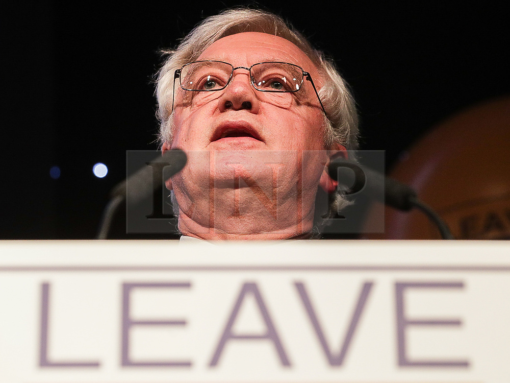 """© Licensed to London News Pictures . 22/09/2018. Bolton, UK. DAVID DAVIS speaks . Pro Brexit campaign group Leave Means Leave host a """" Save Brexit """" and """" Chuck Chequers """" rally at the University of Bolton Stadium , attended by leave-supporting politicians from a cross section of parties , including Conservative David Davis , former UKIP leader Nigel Farage and Labour's Kate Hoey . Photo credit: Joel Goodman/LNP"""