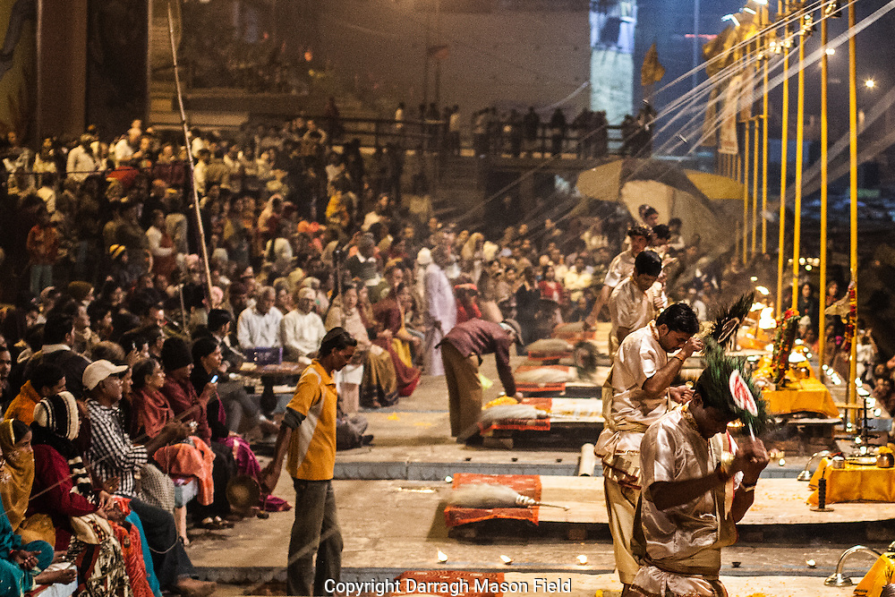 Evening Ganga Aarti are offered every evening at the Dashashwamedh Ghat