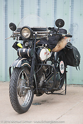 Paul Ousey's 1925 Harley-Davidson JE during Stage 8 of the Motorcycle Cannonball Cross-Country Endurance Run, which on this day ran from Junction City, KS to Burlington, CO., USA. Saturday, September 13, 2014.  Photography ©2014 Michael Lichter.