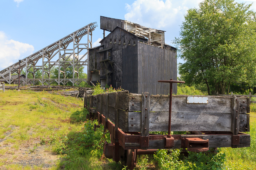 """Weatherly, PA, USA - June 20, 2013: The 1970 film Molly Maguires was filmed in Eckley Pennsylvania in 1969, and the wooden """"coal breaker"""" was built as a prop."""