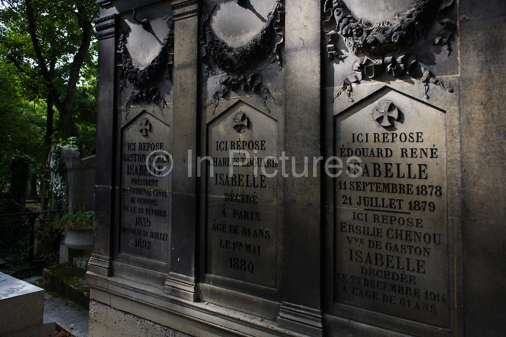 """Tomb for the Isabelle family in the Pere Lachaise cemetery, Paris. Père Lachaise Cemetery (French: Cimetière du Père-Lachaise- or officially cimetière de l'Est, """"East Cemetery"""") is the largest cemetery in the city of Paris, France (44 hectares (110 acres) containing the remains of a million French and foreign dead."""