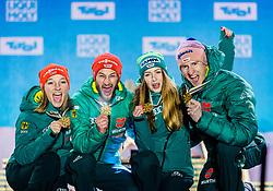 02.03.2019, Seefeld, AUT, FIS Weltmeisterschaften Ski Nordisch, Seefeld 2019, Skisprung, Mixed Team, Siegerehrung, im Bild Weltmeister und Goldmedaillengewinner Katharina Althaus (GER), Markus Eisenbichler (GER), Juliane Seyfarth (GER) // World champion and Gold medalist Katharina Althaus Markus Eisenbichler Juliane Seyfarth Karl Geiger of Germany during the winner Ceremony for the mixed team competition in ski jumping of nordic combination of FIS Nordic Ski World Championships 2019. Seefeld, Austria on 2019/03/02. EXPA Pictures © 2019, PhotoCredit: EXPA/ Stefan Adelsberger