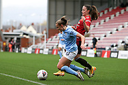 Manchester United defender Ona Batlle (17) fouls Manchester City forward Georgia Stanway (10) during the FA Women's Super League match between Manchester United Women and Manchester City Women at Leigh Sports Village, Leigh, United Kingdom on 14 November 2020.