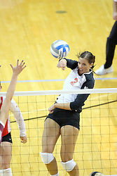 13 September 2011: Leighann Hranka slams the ball during an NCAA volleyball match between the Ramblers of Loyola and the Illinois State Redbirds at Redbird Arena in Normal Illinois.