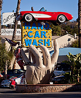 The Hand Car Wash draws gawkers from all over the world just to see its sign on Ventura Blvd in Studio City, Ca.  December 27, 2012. Photo by David Sprague Copyright 2012