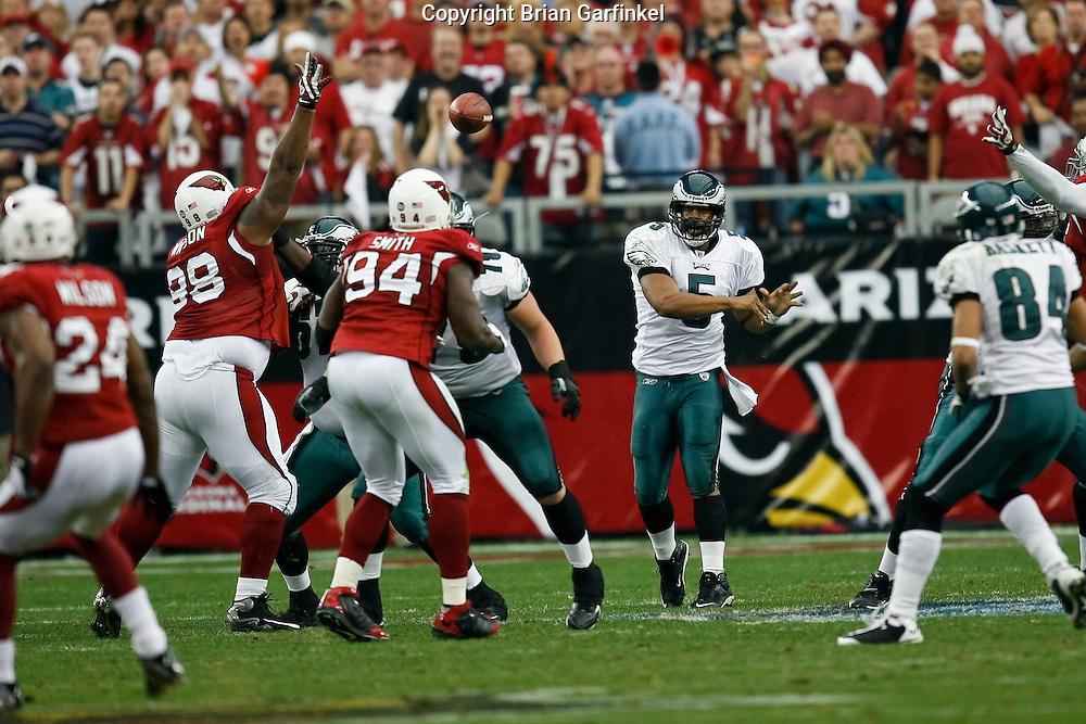 18 Jan 2009: Philadelphia Eagles quarterback Donovan McNabb #5 throws the ball during the NFC Championship game against the Arizona Cardinals on January 18th, 2009. The Cardinals won 32-25 at University of Phoenix Stadium in Glendale, Arizona.