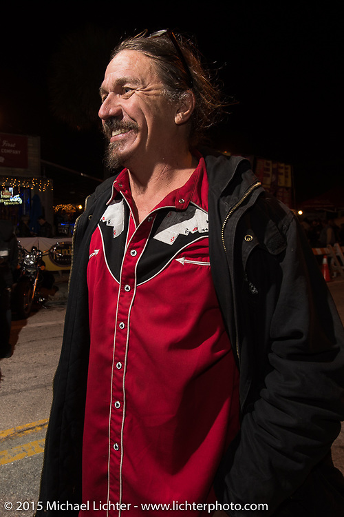"Bean're, the ""Mayor of Fun"" on Main Street on the first Saturday night during Daytona Bike Week. Saturday, March 7, 2015.  Photography ©2015 Michael Lichter."