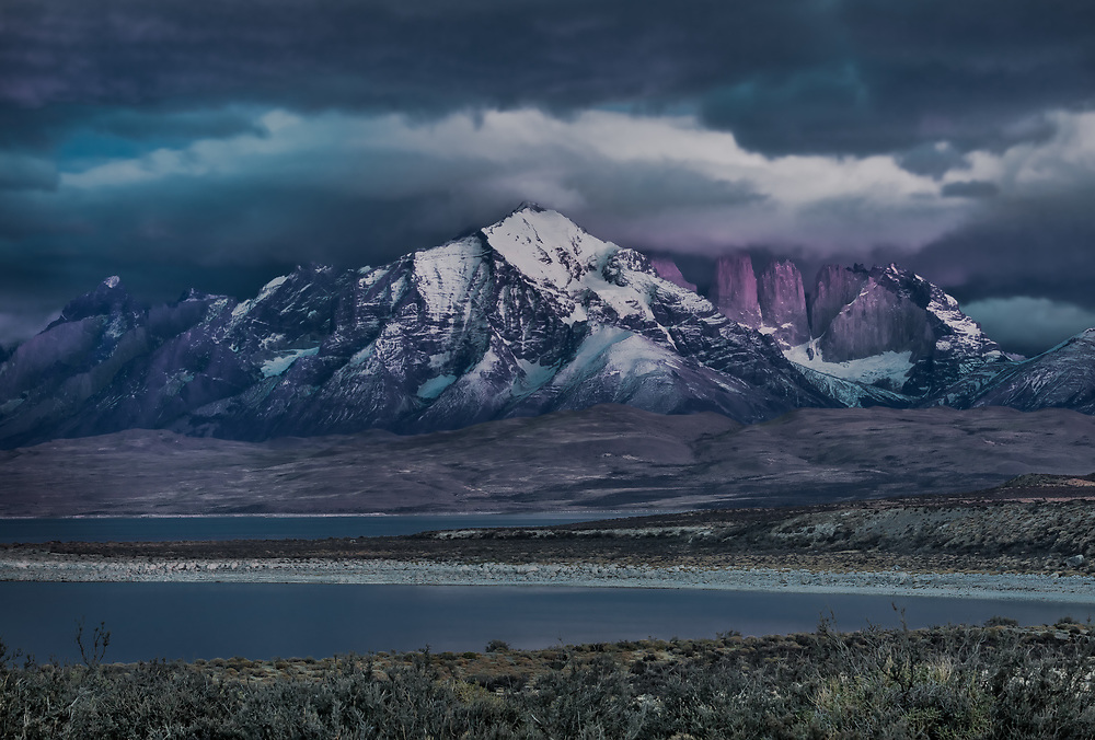 The majesty of the mountains reveals itself in the first few moments of predawn light. This was a fifteen second exposure taken in Chilean Patagonia's Torres del Paine National Park.