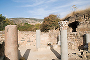The Palace of Agrippa II from the first century CE. The synagogue. Photographed at the Hermon Stream Nature reserve and Archaeological Park (Banias) Golan Heights Israel