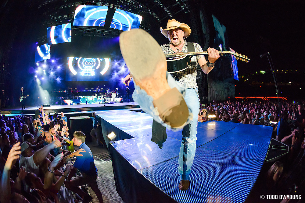 Jason Aldean performing at Fenway Park in Boston on July 13, 2013 as part of the Night Train Tour.