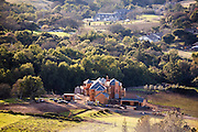 New house construction seen from wild horse valley road. Napa Valley, California.