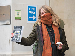 © Licensed to London News Pictures; 02/03/2021; Bristol, UK. RHIAN GRAHAM of The Colston Four arrive at Bristol Crown Court for the first day of their trial. Defendants Rhian Graham, 29, Milo Ponsford, 25, Jake Skuse, 32, and Sage Willoughby, 21, have been charged with criminal damage in connection with damage to the statue of slave trader Edward Colston which was pulled down during a Black Lives Matter protest on June 7 2020 and then thrown into Bristol Harbour. Photo credit: Simon Chapman/LNP.