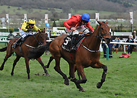 National Hunt Horse Racing - 2020 Cheltenham Festival - Wednesday, Day Two (Ladies Day)<br /> <br /> Winner, Davy Russell on Envoi Allen in the 13.30 Ballymore Novices' Hurdle (Grade 1), at Cheltenham Racecourse.<br /> <br /> COLORSPORT/ANDREW COWIE