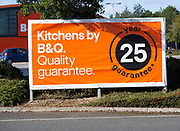 B&Q advertising poster outside store at Chippenham, Wiltshire, England, UK
