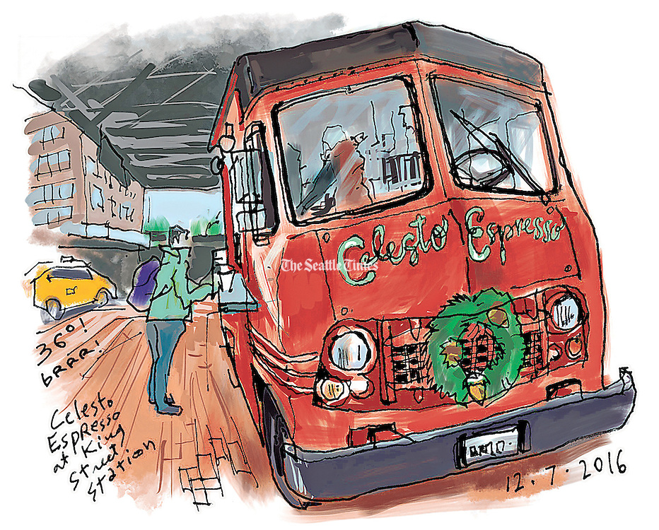 By King Street Station, warm coffee from a spicy red truck. (Gabriel Campanario / The Seattle Times)