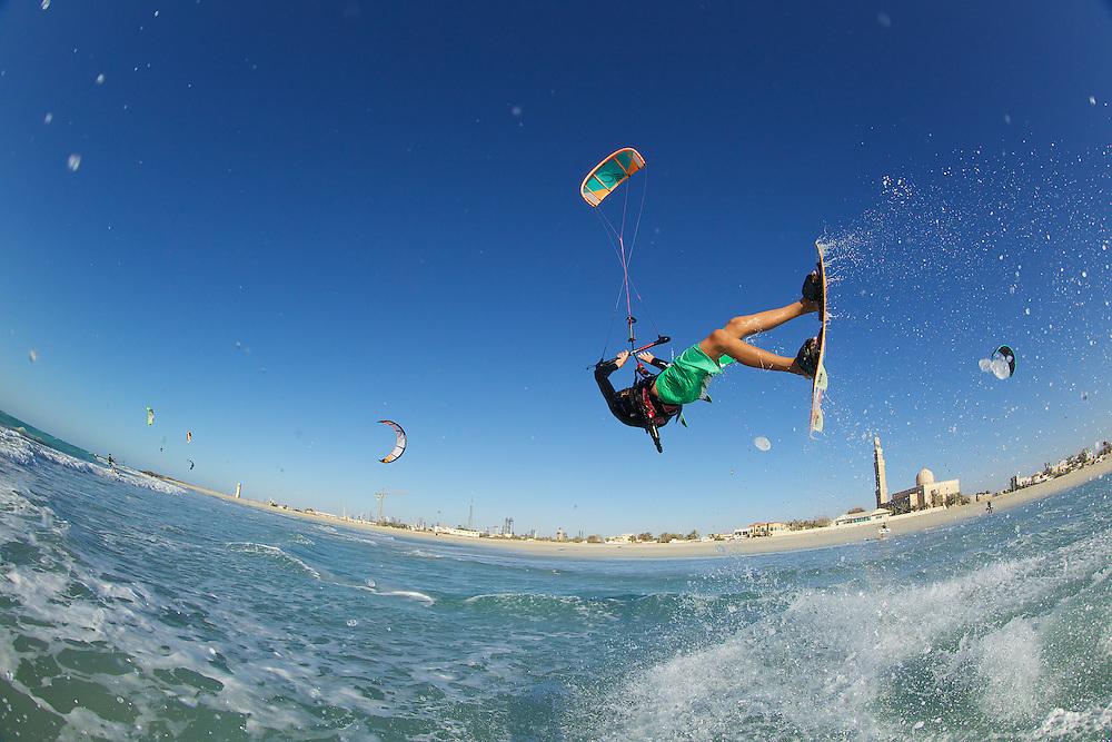 Cabrinha rider Mark Howes at Sunset Beach aka Kite Beach, Dubai, United Arab Emirates