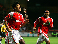 Photo: Tom Dulat/Sportsbeat Images.<br /> <br /> Charlton Athletic v Cardiff City. Coca Cola Championship. 10/11/2007.<br /> <br /> Charlton Athletic's Zheng Zhi (L) celebrates his goal together with Sam Sodje (C) and Jerome Thomas (R). Charlton leads 3-0