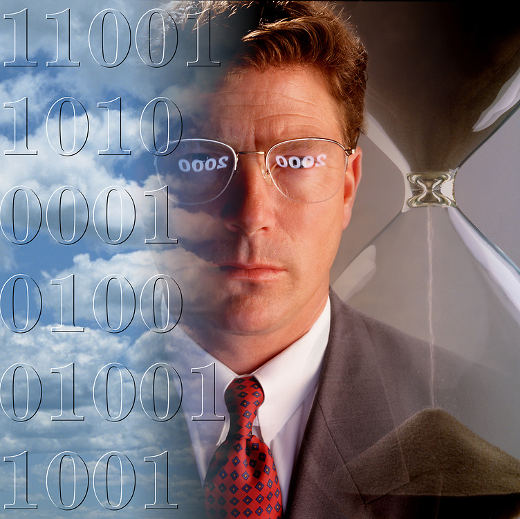 Collage of businessman's face with hourglass, clouds and computer language with concerns over the millennium