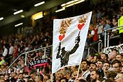 Fussball: 2. Bundesliga, FC St. Pauli - Holstein Kiel 2:1, Hamburg, 26.08.2019<br /> St. Pauli-Fans mit Banner<br /> © Torsten Helmke
