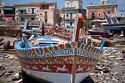 Traditional fishing boat in Acitrezza port, eastern Sicily
