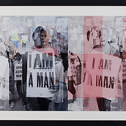 "Title: I Am a Man<br /> Artist: Whitney Turetzky<br /> Date: 2015<br /> Medium: Digital photo collage<br /> Dimensions: 49 x 25""<br /> Status: On loan<br /> Location: Highland Testing Center, HLC 1000, 2221"