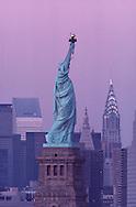 Statue of Liberty and Midtown Manhattan, New York City, New York, USA