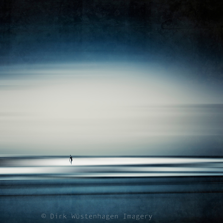 Abstract minimalistic seascape with the figure of a surfer