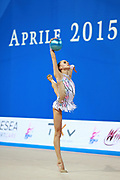 Kabrits Laurabell during qualifying at ball in Pesaro World Cup 10 April 2015. Laurabell is an Estonian rhythmic gymnastics athlete born on March 3 ,1999 in Tallinn, Estonia.