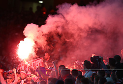 September 14, 2017 - London, Greater London, United Kingdom - Flares at Arsenal.during UEFA Europa League Group H match between Arsenal and 1.FC Koln at The Emirates , London 14 Sept 2017  (Credit Image: © Kieran Galvin/NurPhoto via ZUMA Press)