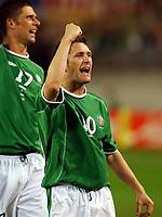 Fotball. VM 2002. 05.06.2002.<br /> Tyskland v Irland 1-1.<br /> Robbie Keane (th) og Niell Quinn jubler etter at Keane har utliknet til 1-1.<br /> Foto: Robin Parker, Digitalsport