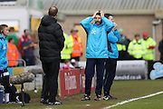 Lincoln City Manager Danny Cowley and Lincoln City Manager Nicky Cowley during the The FA Cup fourth round match between Lincoln City and Brighton and Hove Albion at Sincil Bank, Lincoln, United Kingdom on 28 January 2017.